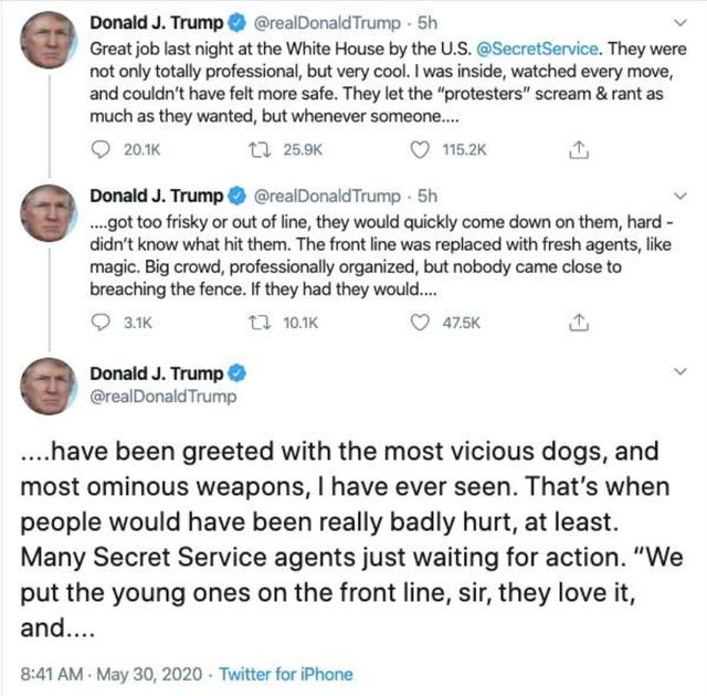 白宫发内部提醒:必须要来白宫工作的人员,路上藏好通行证,特朗普威胁示威者:将面临最凶狠的恶犬!